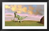 Dilophosaurus Hunting in an Open Field Framed Print