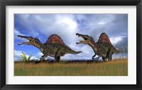 Framed Two Spinosaurus Hunting