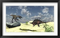 Utahraptor and a Kentrosaurus Framed Print