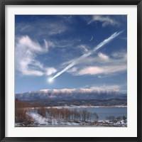 Framed Large Meteor Entering Earth
