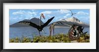 Framed Gigantic Quetzalcoatlus pterosaurs