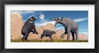 Framed Arctodus Bear Chasing Deinotherium