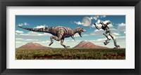 Framed Tyrannosaurus Rex Battling Robot