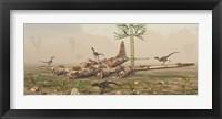 Framed Velociraptors and a B-17