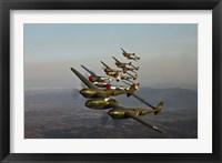 Framed Five Lockheed P-38 Lightnings