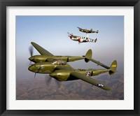 Framed Three Lockheed P-38 Lightnings