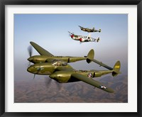 Framed Three Lockheed P-38 Lightnings