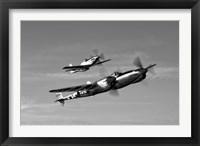 Framed P-38 Lightning and P-51D Mustang