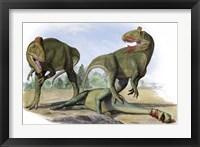 Framed Two Cryolophosaurus Ellioti
