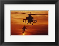 Framed Four AH-64 Apache Helicopters