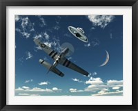Framed American P-51 Mustang and UFO