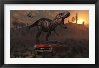 Framed Dinosaur and Classic Car