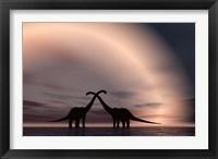 Framed Courting Dinosaurs