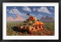Framed World War II American Sherman Tank