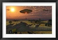 Framed Alien UFO Flying over an American Airbase