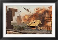 Framed American P-47's Attacking German Jagdpanther Tanks