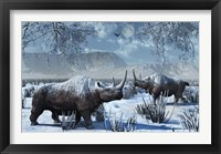 Framed Woolly Rhinoceros in Winter