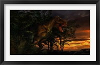 Framed Tyranosaurus Rex in a Forest