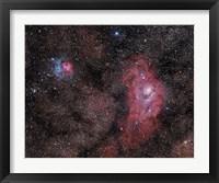 Framed Lagoon Nebula and Trifid Nebula in Sagittarius