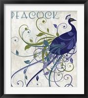 Framed Peacock Nouveau I