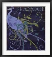 Framed Peacock Nouveau II