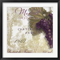 Grand Vin Merlot Framed Print