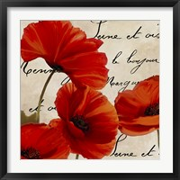 Framed Coquelicots Rouge I