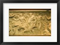 Framed Roman sarcophagus, Museo de la Cultura del Vino, Briones Village, La Rioja, Spain