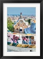 Framed Spain, Catalonia, Barcelona, Park Guell Terrace
