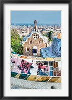 Framed Spain, Catalonia, Barcelona, Park Guell Terrace