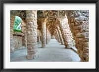 Framed Park Guell Colonnaded Footpath, Barcelona, Spain