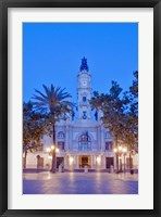 Framed City Hall (Ayuntamiento) at Dawn, Valencia, Spain