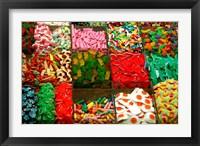 Framed Spain, Barcelona, La Rambla, market candy