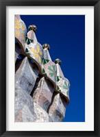 Framed Gaudi Chimney Sturctures, Casa Batllo, Barcelona, Catalonia, Spain