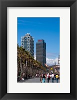 Framed Hotel Arts and Mapfre Tower, La Barceloneta Beach, Barcelona, Spain