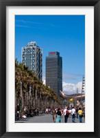 Framed Hotel Arts and Mapfre Tower, La Barceloneta Beach, Barcelona, Spain