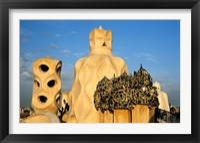 Framed Antonio Gaudi's La Pedrera, Casa Mila, Barcelona, Spain