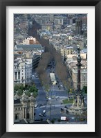 Framed Christopher Columbus Statue on La Rambla, Barcelona, Spain
