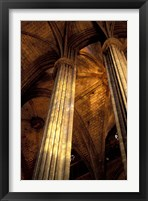 Framed Columns and Ceiling of St Eulalia Cathedral, Barcelona, Spain