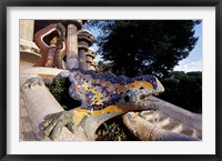 Framed Lizard Mosaic in Parc Guell, Barcelona, Spain
