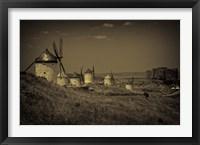 Framed Spain, Toledo Province, Consuegra Antique La Mancha windmills