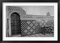 Framed Spain, Andalusia, Alhambra Ornate Door and tile of Nazrid Palace