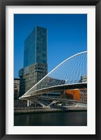 Framed Spain, Bilbao, Zubizuri Bridge over Rio de Bilbao