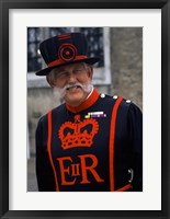 Framed Beefeater in Costume at the Tower of London, London, England
