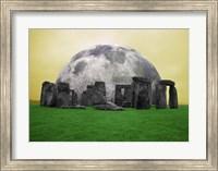 Framed Full Moon over Stonehenge, England