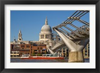 Framed Millennium Bridge, St Pauls Cathedral, London, England