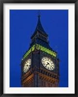 Framed Famous Big Ben Clock Tower illuminated at dusk, London, England
