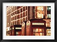 Framed Lit Telephone booth at Harrods, Knightsbridge, London, England