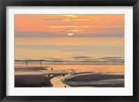 Framed Sunset and beach, Blackpool, England