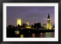 Framed Big Ben and the Houses of Parliament at Night, London, England